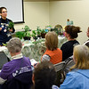 BEN MIKESELL | THE GOSHEN NEWS<br /> Guest speaker Marcy Dailey runs through a demonstration Saturday morning with a packed audience Saturday morning during the Elkhart County Garden Expo at the Elkhart County 4-H Fairgrounds.