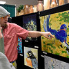 BEN MIKESELL | THE GOSHEN NEWS<br /> Goshen-based artist Mark Daniels shows off some of his work on display Saturday morning during the Elkhart County Garden Expo at the Elkhart County 4-H Fairgrounds.