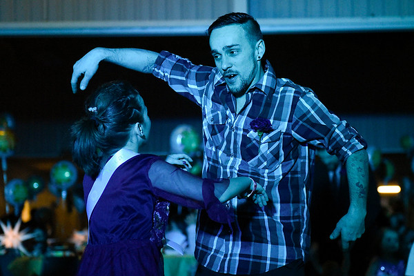 BEN MIKESELL   THE GOSHEN NEWS<br /> Michael Snider, Goshen, dances with his daughter Elaine, 9, during the annual Daddy Daughter Dance Wednesday night at the Elkhart County 4-H Fairgrounds.