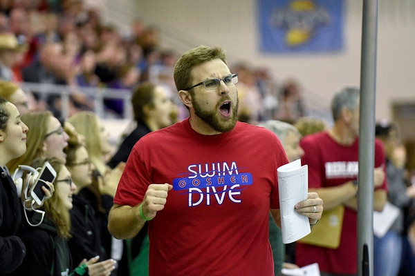 BEN MIKESELL | THE GOSHEN NEWS<br /> Barrett Younghans, the head coach for the Goshen High School swim teams, cheers from the edge of the pool during the sectional championship Feb. 2 at Concord.