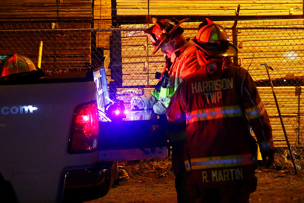 AUSTIN HOUGH | THE GOSHEN NEWS<br /> Firefighters work at the scene of a large business fire at Recycled/New Pallets Inc. in Dunlap Monday night.