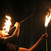 GEOFF LESAR | THE GOSHEN NEWS<br /> <br /> Luke Hanna of Fire Amusement, 21, a former Goshen resident now living in Salem, Massachusetts, eats fire Friday evening during the First Fridays Fire and Ice Festival in Goshen.