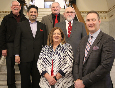 Roger Schneider | The Goshen News Republican candidates filing for the May 7 primary for Goshen elected offices stand inside the Elkhart County Courthouse Friday. In front from left are, Angie McKee, clerk-treasurer and Brett Weddell council at-large. In the second row from left are Felipe Merino, council 3rd District; and Jim McKee, council 1st District. In back are David Daugherty, council at-large; and Doug Nisley, council 2nd District.
