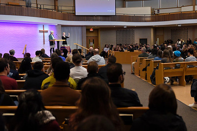 BEN MIKESELL | THE GOSHEN NEWS Students gather to listen to Goshen College president Rebecca Stoltzfus speak about the Diversity, Equity & Inclusion Task Force Wednesday morning at College Mennonite Church.