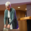 BEN MIKESELL | THE GOSHEN NEWS<br /> Goshen College president Rebecca Stoltzfus places a cornerstone on a slab of foundation during her speech on diversity, equity and inclusion Wednesday morning at College Mennonite Church.
