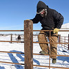 BEN MIKESELL | THE GOSHEN NEWS<br /> Ryan Baker, of Bristol, climbs over a fence Thursday morning at his farm on C.R. 133. Baker spends hours outside tending to his livestock, despite the extreme sub-zero temperatures.
