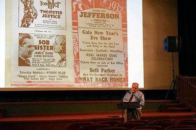 BEN MIKESELL | THE GOSHEN NEWS Randall Clouse, with the Goshen Historical Society, gives a presentation on the history of the Goshen Theater Wednesday afternoon for Goshen Theater Week.