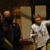 BEN MIKESELL | THE GOSHEN NEWS<br /> Capital campaign manager Sharon Risser points out the ghost of the Goshen Theater while giving a tour backstage Wednesday afternoon during Goshen Theater Week.