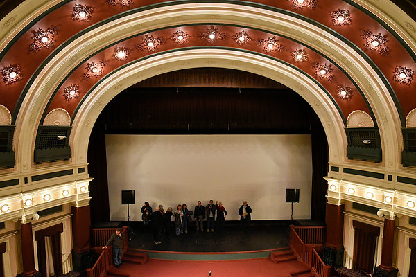 BEN MIKESELL | THE GOSHEN NEWS A tour led by Doug Risser makes its way across the stage Wednesday afternoon at the Goshen Theater.