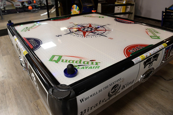 BEN MIKESELL | THE GOSHEN NEWS<br /> Owner Roger Brown said he was particularly proud of the 4-person table hockey game in the renovated arcade at Maple City Bowl.