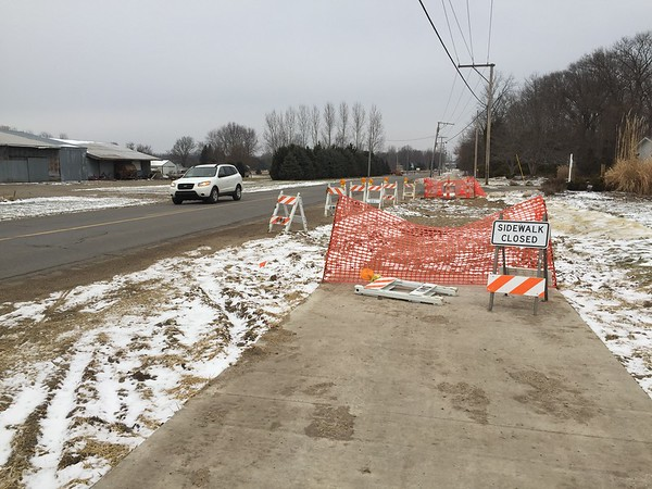 Roger Schneider | The Goshen News<br /> An unfished section of Goshen's newest bicycle/pedestrian trail is unfinished along C.R. 17 near the entrance to Brookside Manor. Bicycle trails became a topic of discussion at Saturday's Elkhart County Council meeting.
