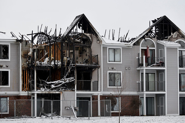 BEN MIKESELL | THE GOSHEN NEWS<br /> The heavily damaged apartment building at the Arbor Lakes complex in Concord Township is shown in this picture taken Wednesday.