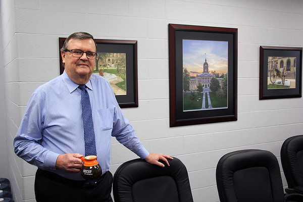 AIMEE AMBROSE | THE GOSHEN NEWS<br /> <br /> Tom Byers retired Jan. 4 as the county administrator of Elkhart County. He served in county government for about 36 years. Jeff Taylor, the former head of the county Highway Department, succeeded Byers as county administrator.