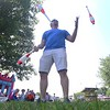GEOFF LESAR | THE GOSHEN NEWS<br /> <br /> LaMar Yoder, of Goshen, juggles pins Thursday morning in Topeka's East Park, part of the town's Fourth of July celebration. An installer of vinyl siding by day, Yoder said he's been juggling since fourth grade.