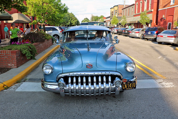 Roger Schneider | The Goshen News<br /> Jergen Faldoe of New Paris drives his 1950 Buick Special during Goshen's Cruisin' Reunion Friday night.