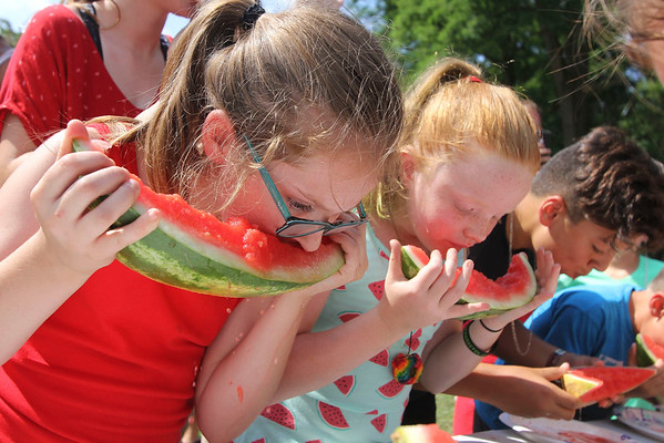 AIMEE AMBROSE | THE GOSHEN NEWS <br /> (from left) Emily Stanford, 10, of Springs, Colorado; Bryn Carlson, 8, Bristol; and Aaron Angelmeyer, 12, Goshen, devour watermelons while competing in the kids watermelon contest during the Bristol Homecoming Festival at Congdon Park Saturday.