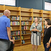 CAMDEN CHAFFEE | THE GOSHEN NEWS<br /> Co-owner of Fables Books in Goshen, Veronica Berkey, mingles with customers during the store's opening day on Tuesday.