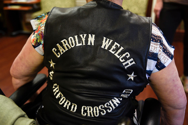 BEN MIKESELL | THE GOSHEN NEWS<br /> A biker vest was made for Carolyn Welch ahead of her motorcycle ride through Elkhart County.