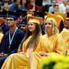 SHEILA SELMAN | THE GOSHEN NEWS<br /> Fairfield High School graduates listen to a speaker during commencement Sunday afternoon.