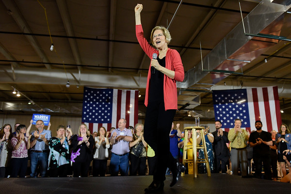 BEN MIKESELL   THE GOSHEN NEWS<br /> Senator and democratic presidential candidate Elizabeth Warren steps onto the stage during a campaign event Wednesday morning at the Northern Indiana Event Center.
