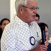 JOHN KLINE | THE GOSHEN NEWS<br /> John Fidler, who has 54 years with the Goshen Rotary Club, speaks during the club's 100th anniversary celebration at Maplecrest Country Club in Goshen Friday afternoon.