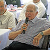 JOHN KLINE | THE GOSHEN NEWS<br /> Paul Koepke, who has 49 years with the Goshen Rotary Club, speaks during the club's 100th anniversary celebration at Maplecrest Country Club in Goshen Friday afternoon.