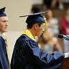 SHEILA SELMAN | THE GOSHEN NEWS<br /> Matt Parson addresses his fellow graduates at Fairfield High School Sunday afternoon during commencement.
