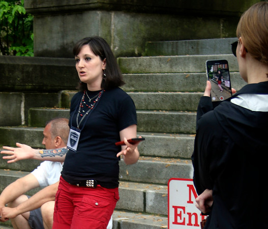 SHEILA SELMAN | THE GOSHEN NEWS<br /> Becca Burton with Northern Indiana Atheists speaks at a rally in support of abortion rights Saturday evening at the Elkhart County Courthouse.