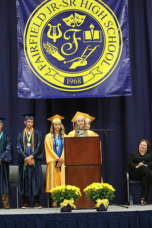 SHEILA SELMAN | THE GOSHEN NEWS<br /> Nicole Miller, one of the top 10 seniors at Fairfield, speaks to her classmates during commencement Sunday afternoon.