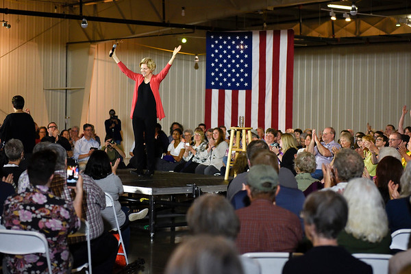 BEN MIKESELL | THE GOSHEN NEWS<br /> Senator and democratic presidential candidate Elizabeth Warren reacts to applause during a campaign event Wednesday morning at the Northern Indiana Event Center.