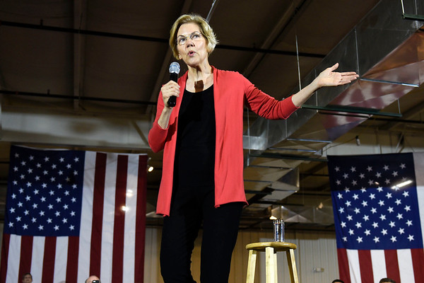BEN MIKESELL | THE GOSHEN NEWS<br /> Senator and democratic presidential candidate Elizabeth Warren speaks to a crowd of supporters during a campaign event Wednesday morning at the Northern Indiana Event Center.