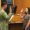 JOHN KLINE | THE GOSHEN NEWS<br /> Goshen Mayor Jeremy Stutsman, left, conducts the swearing-in ceremony for new Goshen City Council Youth Adviser Zoe Eichorn during the council's meeting Tuesday evening. Eichorn will serve on the council during the 2019-2020 session.