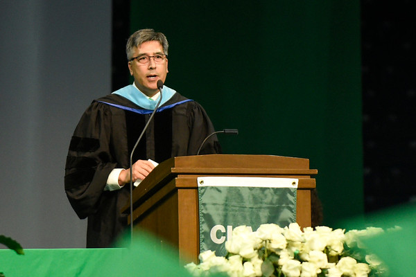 BEN MIKESELL | THE GOSHEN NEWS<br /> Concord superintendent Tim Tahara speaks to the class of 2019 graduates Thursday evening in South Bend.