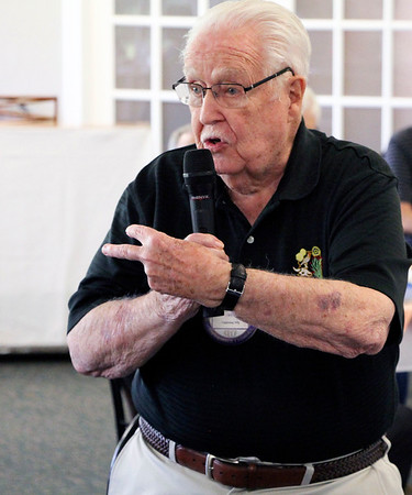 JOHN KLINE   THE GOSHEN NEWS<br /> Bob Cripe, who has 53 years with the Goshen Rotary Club, speaks during the club's 100th anniversary celebration at Maplecrest Country Club in Goshen Friday afternoon.