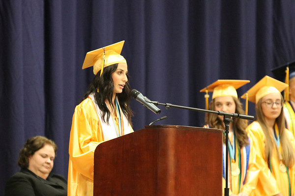 SHEILA SELMAN | THE GOSHEN NEWS<br /> Kylie Miller addresses graduates during Fairfield High School's commencement ceremony Sunday afternoon.