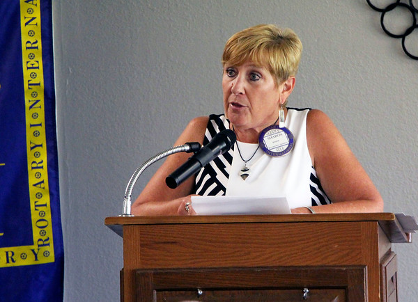 JOHN KLINE | THE GOSHEN NEWS<br /> Goshen Rotary Club president Sharon Risser welcomes attendees to the club's 100th anniversary celebration at Maplecrest Country Club in Goshen Friday afternoon.