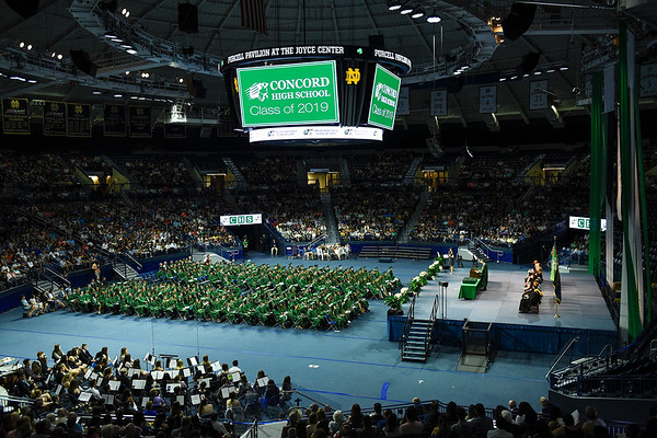 BEN MIKESELL | THE GOSHEN NEWS<br /> The class of 2019 was the first Concord class to graduate at the Purcell Pavilion at the Joyce Center in South Bend.