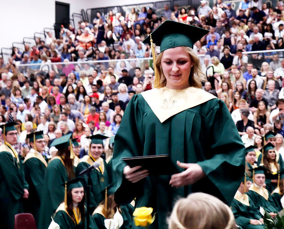 KORY STONEBURNER-BETTS | THE GOSHEN NEWS<br /> Emily Nicole David accepts her diploma from Wawasee High School Sunday afternoon.