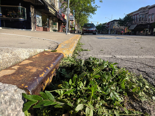 SHEILA SELMAN | THE GOSHEN NEWS<br /> A storm drain on Main Street in Goshen is covered with debris from Saturday's thunderstorms, blocking its ability to drain water from the street, which could cause ponding.