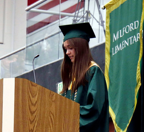 KORY STONEBURNER-BETTS   CONTRIBUTED<br /> Wawasee valedictorian Kaitlin Graber addresses the graduating class of 2019 Sunday.