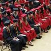 KORY STONEBURNER-BETTS | THE GOSHEN NEWS<br /> NorthWood High School graduates look on while being addressed by Principal David Maugel Friday night at NorthWood High School.