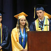 SHEILA SELMAN | THE GOSHEN NEWS<br /> Aaron Streit addresses his fellow graduates Sunday afternoon at Fairfield Jr.-Sr. High School. Looking on are Drew Martin, left, and Lydia Holsopple.