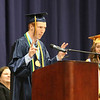 SHEILA SELMAN | THE GOSHEN NEWS<br /> Brian Troyer speaks during Fairfield High School graduation Sunday afternoon.