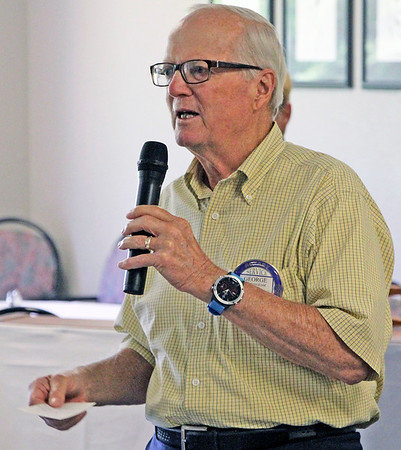 JOHN KLINE | THE GOSHEN NEWS<br /> George Buckingham, who has 50 years with the Goshen Rotary Club, speaks during the club's 100th anniversary celebration at Maplecrest Country Club in Goshen Friday afternoon.