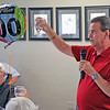 JOHN KLINE | THE GOSHEN NEWS<br /> Jim Siegmann, who has 49 years with the Goshen Rotary Club, speaks during the club's 100th anniversary celebration at Maplecrest Country Club in Goshen Friday afternoon.