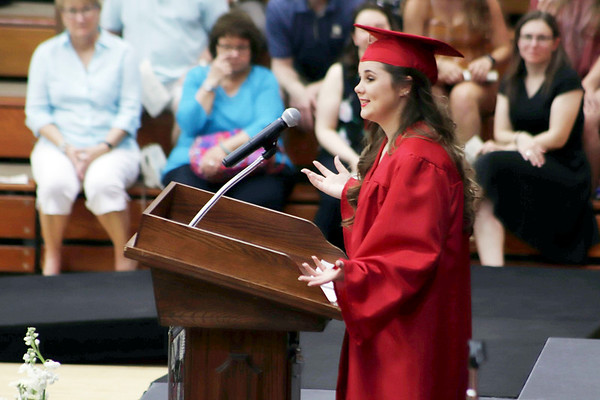 KORY STONEBURNER-BETTS | THE GOSHEN NEWS<br /> Senior Emily Stankovich speaks to her fellow graduates Friday night at NorthWood High School.