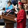 KORY STONEBURNER-BETTS | THE GOSHEN NEWS<br /> Senior Emily Stankovich speaks to her fellow graduates Friday night at NorthWood High School.