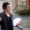 SHEILA SELMAN | THE GOSHEN NEWS<br /> Karen Nemes with Pro-Choice South Bend speaks to those attending a pro-abortion rally Saturday evening at the Elkhart County Courthouse.
