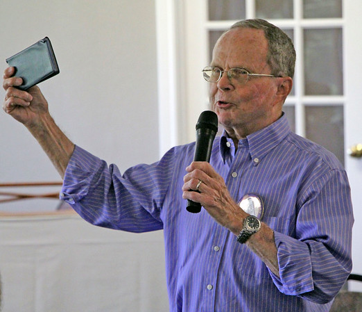 JOHN KLINE | THE GOSHEN NEWS<br /> Dick Snyder, who has 49 years with the Goshen Rotary Club, speaks during the club's 100th anniversary celebration at Maplecrest Country Club in Goshen Friday afternoon.
