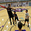 BEN MIKESELL | THE GOSHEN NEWS<br /> Nathaniel Common, 12, of Chicago, goes for a rebound during a three-on-three tournament during the McCracken Basketball Camp Tuesday at Goshen College.